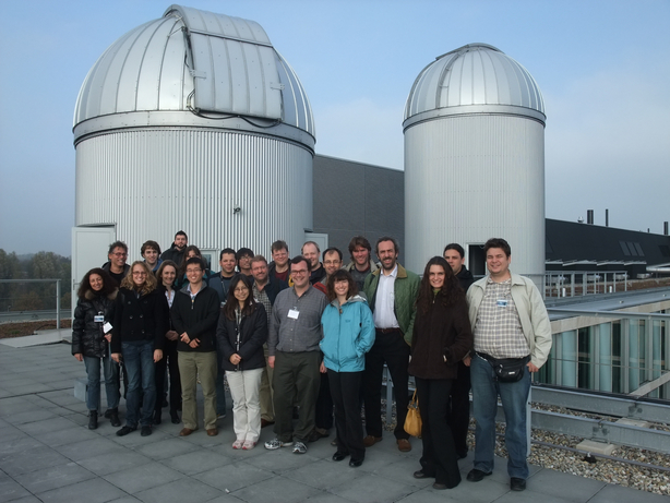 photo of all the network members on the roof of the Astronomical Insitute in Amsterdam